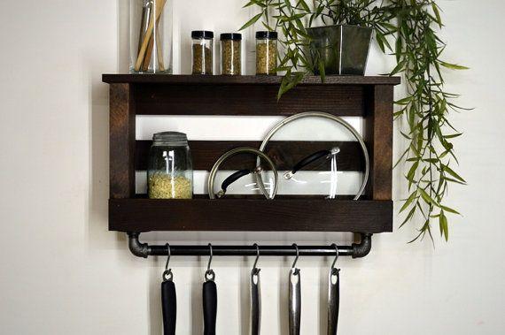 Nogal rústico moderno cocina estante Pot Rack por RusticModernDecor