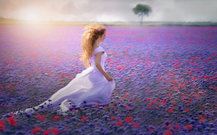 Скачать обои девушка, поле, цветы, раздел настроения в разрешении 1920x1200