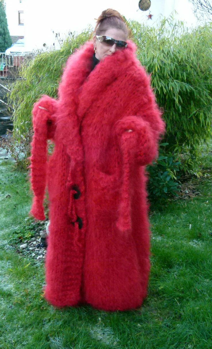 Super Dicker 4 Kg Langhaar Mohair Mantel Coat