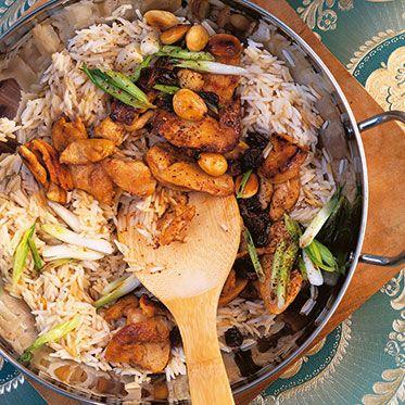 Reispfanne mit Honig-Hähnchen