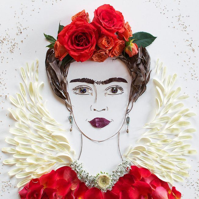 Chicago-based artist Vicki Rawlins constructs lovely portraits of enigmatic women using flowers, greenery, sand and other organic objects.