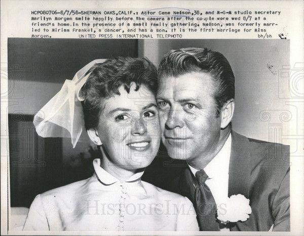 1958 Press Photo Actor Gene Nelson & MGM studio secretary Marilyn Morgan Wedding