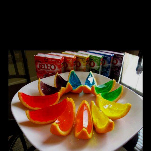 Cut an orange in half, scoop out orange insides, pour in jello mix, slice when ready.  JELLO SHOTTTSSSSS!!!!!