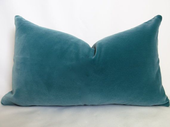 Belgium Cotton Velvet Pillow - Teal - 12x20 inch - BOTH SIDES - Turquoise Pillow - Turquoise Decorative Pillow - Velvet Pillow - Designer