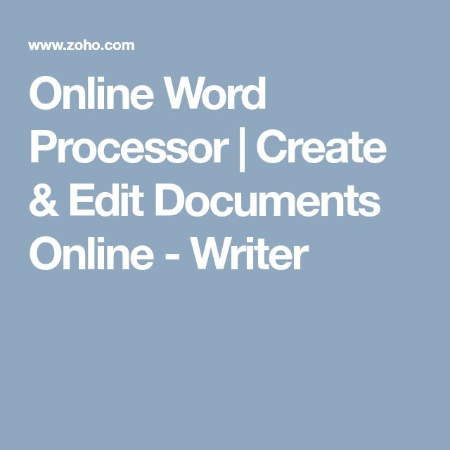 Online Word Processor | Create & Edit Documents Online - Writer
