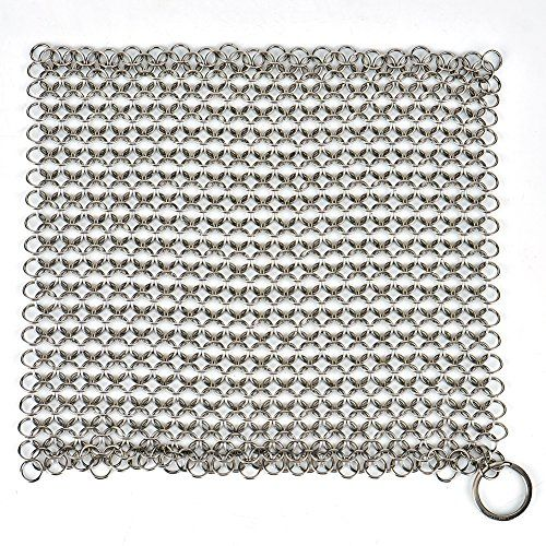 LoveisCool Cast Iron Cleaner - XXL 8''x8'' 316 Grade Stainless Steel Chainmail Scrubber - Specifications: 1.Color: Silver White 2.Material: 316 Grade Stainless Steel 3.Weight: 190g(0.42lb) 4.Size: 8*8 inch 5.Package: 1 Pack LoveisCool Cast Iron Cleaner 6.Applicable Industry: Suitable for pans, skillet, griddle, dutch oven, pot,waffle maker, wok, stainless steel cookware, glassware and...