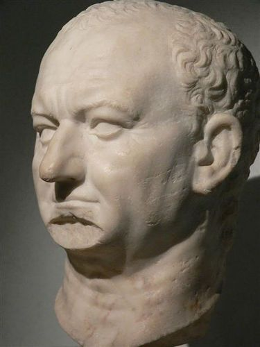 Portrait head of the Roman emperor Titus Flavius Vespasianus 1st century CE Marble Discovered at Ostia
