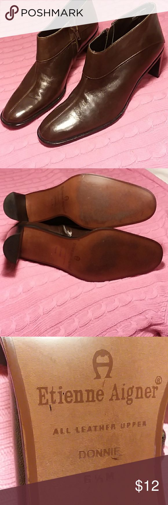 Etienne Aigner Short Brown Boots Size 6 1/2M Sleek and shiny brown leather Etienne  Aigner boots. Worn a few times. Look like new. Zippers on insides. Padded inside heel for comfort. Etienne Aigner Shoes Ankle Boots & Booties
