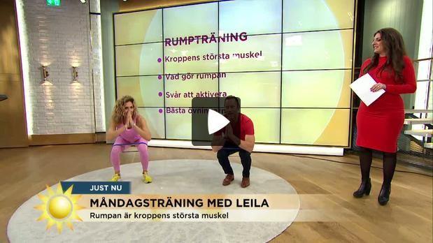 Måndagsträning med Leila Söderholm inriktar sig i dag på kroppens största muskel - rumpan!
