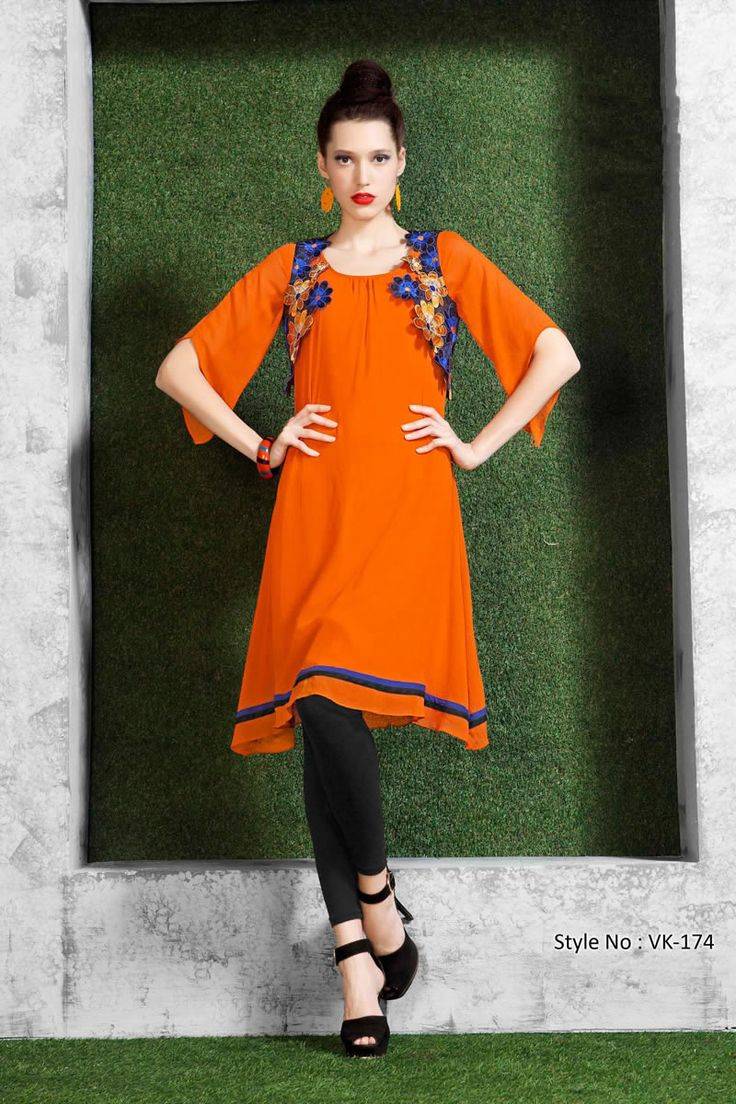 Orange Color Designer Party Wear Unique Stylish  Kurti From Skysarees.