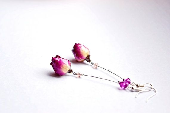 AUTHENTIC / REAL ROSE EARRINGS: Dried roses, dipped & sealed in resin to prevent damage & stop time from affecting the blooms. Created and sold via Etsy artisan, under $30.