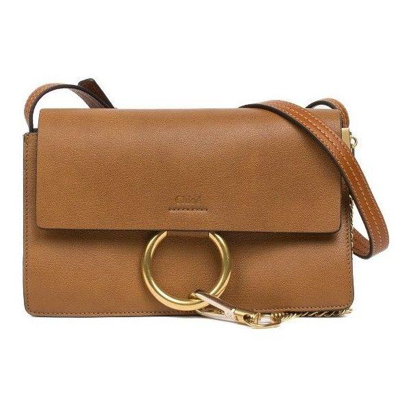 "Chloe ""Faye"" Small Shoulder Bag (£1,051) ❤ liked on Polyvore featuring bags, handbags, shoulder bags, purses, marrone, chloe handbags, brown leather purse, chain shoulder bag, genuine leather handbags and leather shoulder bag"