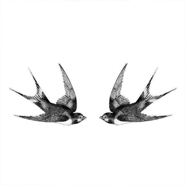 Two swallows Vintage temporary tattoo Pattern Tattoo Temporary Tattoo... ($4.95) ❤ liked on Polyvore featuring accessories and body art