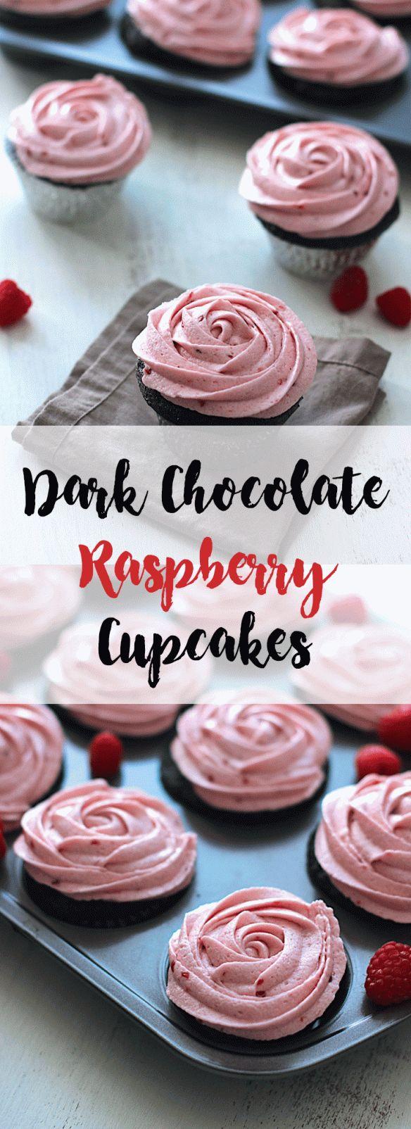 Dark Chocolate Raspberry Cupcakes | A Nerd Cooks