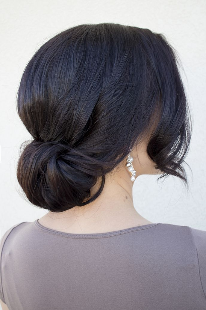 Bridal hair. such a simple chingon, could had braids or really anything else to dress it up. Even just a simple accessory.