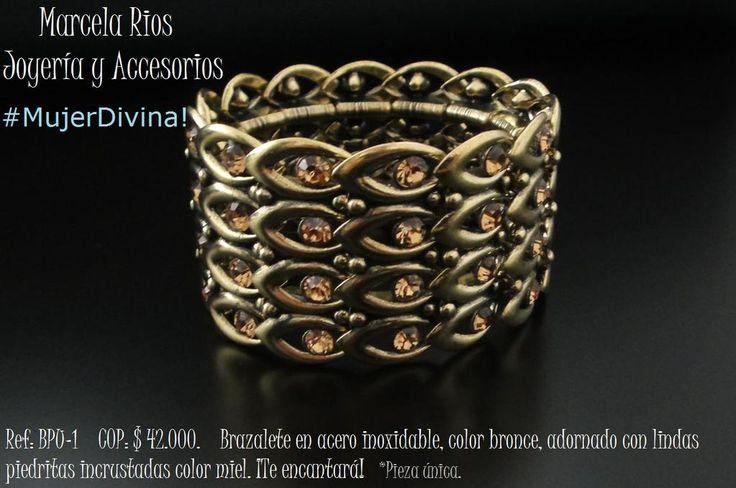 Ref: BPU-1    COP: $ 42.000.    Brazalete en acero inoxidable, color bronce, adornado con lindas piedritas.