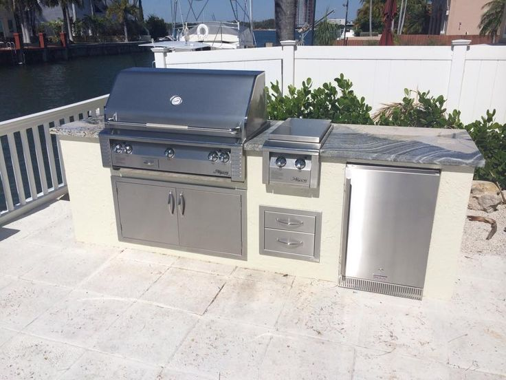 Summer Kitchen With Alfresco Grill, Double Side Burner And Refrigerator |  Outdoor Kitchens | Pinterest | Outdoor Kitchens, Refrigerators And Summer  Kitchen