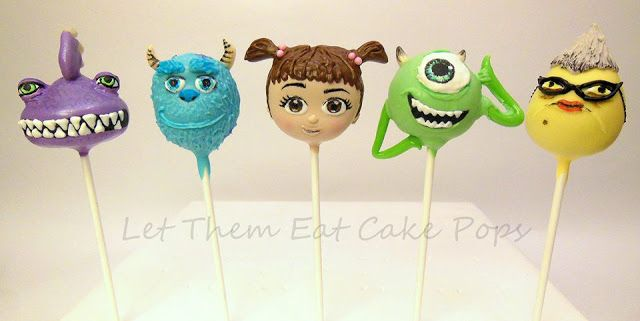 """Mike Wasowski Cake Pops for Monsters Inc - Cake pops by """"Let Them Eat Cake Pops"""" tutorial on PintSizedBaker.com #cakepops #MonstersInc"""