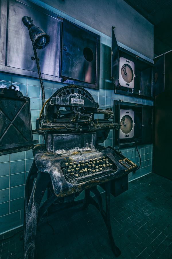 25.) An old Graphotype machine found in an abandoned hospital in California.