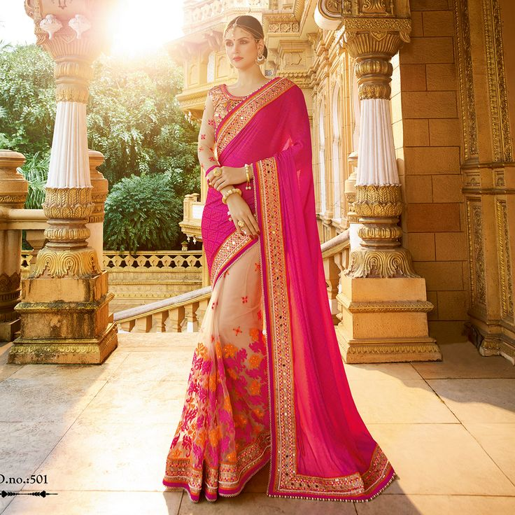 #Wedding #Saree Pink-Beige Silk Jacquard with Net Skirt Half Half Traditional Wedding Saree. Buy Now :- https://goo.gl/Nq86ic