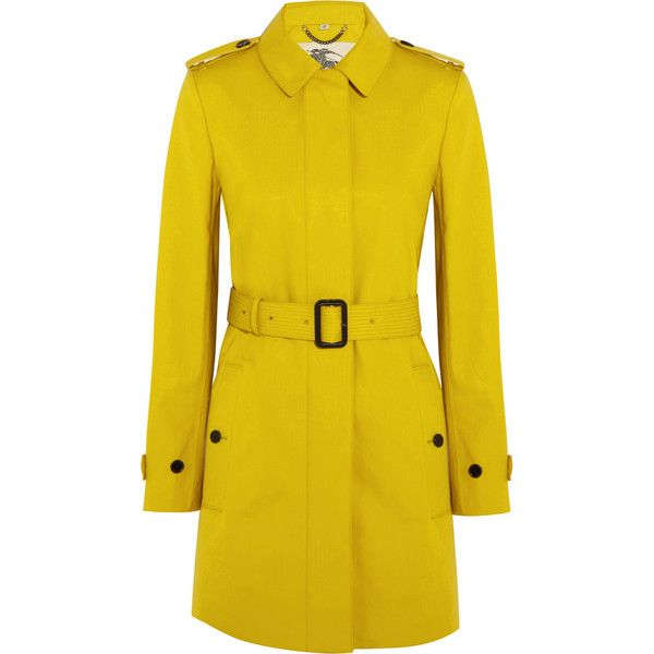 Burberry London Single-breasted bonded-cotton trench coat (€785) ❤ liked on Polyvore featuring outerwear, coats, jackets, burberry, coats & jackets, marigold, trench coat, yellow coat, burberry coat and yellow trench coat