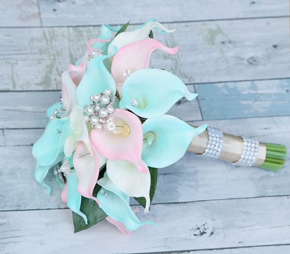 Silk Flower Wedding Bouquet Aqua Mint and Blush Pink by Wedideas