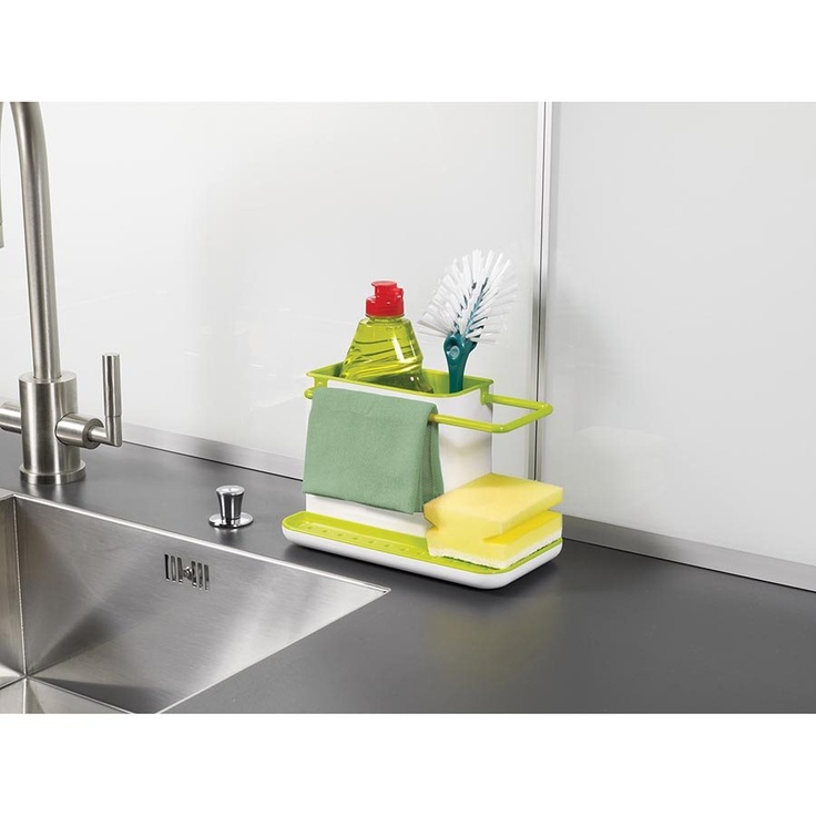 Caddy Sink Area Tidy  The washing up has never been so organised, with this highly practical design. The main body of the unit provides ample space for storing a washing-up liquid bottle and brush, and the integrated rail provides hanging and drying space for damp dishcloths. A large draining plate within the base creates a dedicated area for placing wet sponges, and the concealed reservoir beneath the unit collects any drained water ready for disposal.