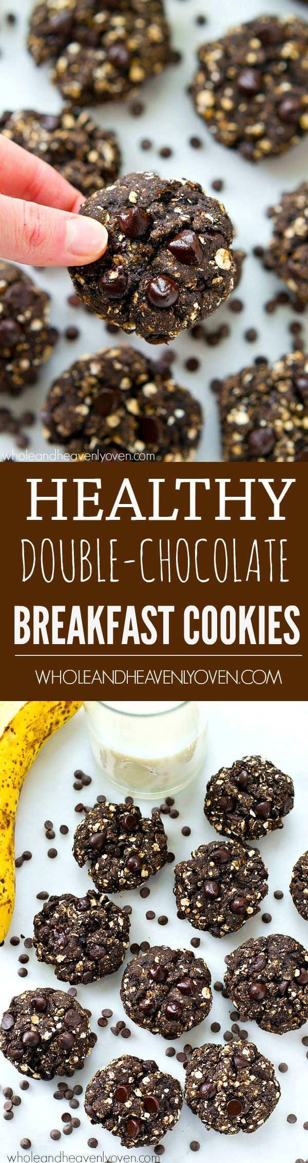 Healthy cookies for breakfast? Yes, this is possible! These easy breakfast cookies are loaded up with tons of chocolate and only contain 150 calories each!