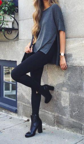 Gray shirt and black pants