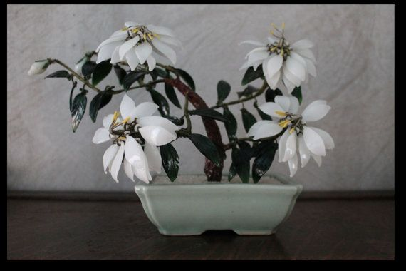 Vintage Peking Glass Flowering Tree  by campeauscollectables