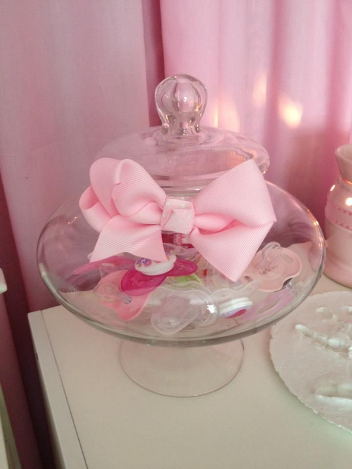 Pacifier storage idea- I did this but didn't put a bow on mine. Very cute idea though