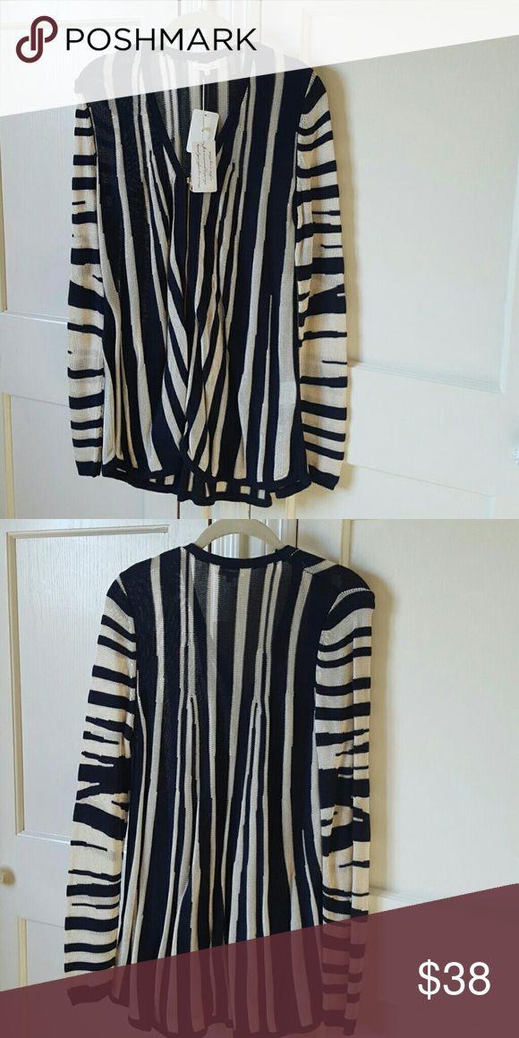 Minnie Rose Navy/Platinum Striped Zip up Cardigan Navy/Platinum Striped Zip up Long Sleeve Cardigan Minnie Rose Sweaters Cardigans