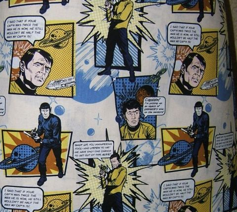 Apron Star Trek crew chef style matching oven mitt comic book drawn images series quotes cotton lined top stitched blue black brown yellow by TopDrawerThreads on Etsy