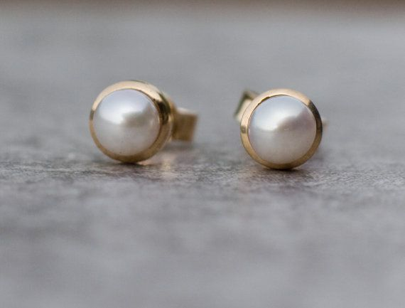 Pearl stud earrings in 14k gold pearl studs freshwater by ARPELC