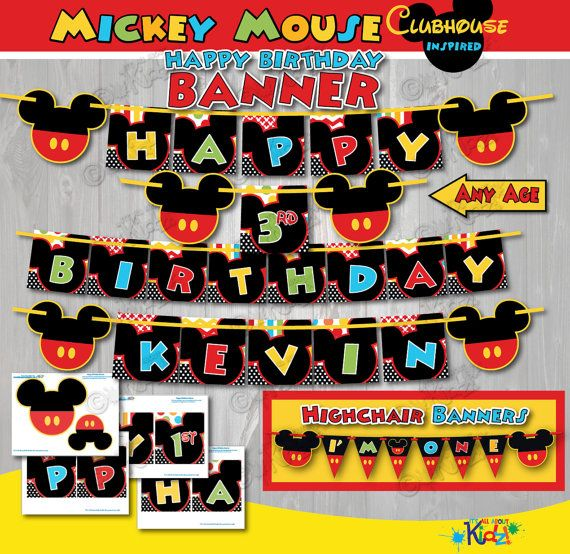 Mickey Mouse Clubhouse birthday Banner Mickey by ItsAllAboutKidz
