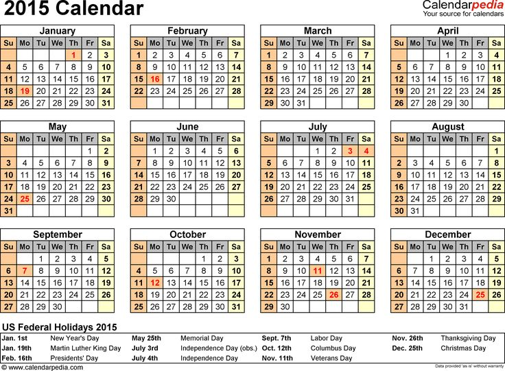 Download Word template for 2015 calendar template 7: year overview, 1 page, with US federal holidays 2015, paper format: US letter