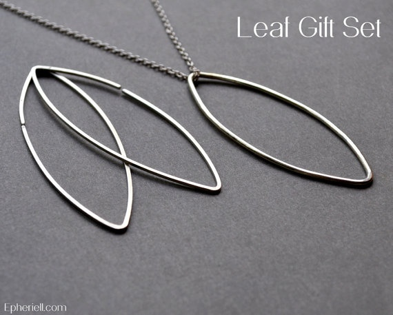 Silver Leaf Gift Set  Necklace & Earrings Simple by Epheriell