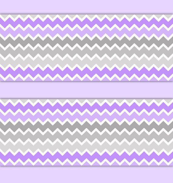 PURPLE GREY CHEVRON Ombre Girl Nursery Wallpaper Border Wall Art Decals Baby Wallcovering Kids Room Stickers Decor Childrens Zig Zag Pattern #decampstudios #nurserydecor #girlnursery #purpleombre #purpleandgrey #purpleandgray #wallborderdecals #purplegirlsroom