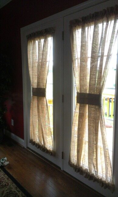 burlap curtains | Burlap curtains | Craft Ideas. Iris: need to make some for my kitchen french doors.