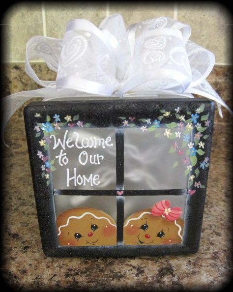 HP Gingerbread Lighted Glass Block | eBay