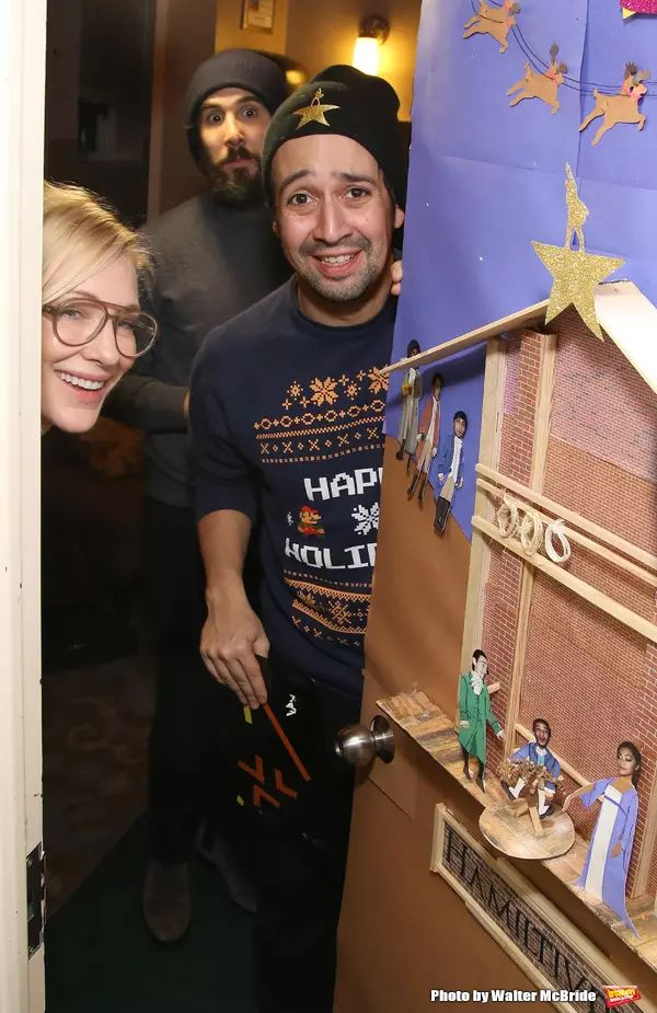 Christmas door decorating contest at Richard Rogers Theatre. Photo Coverage: Lin-Manuel Miranda, Josh Groban, and Cate Blanchett Judge HAMILTON Door Decorating Competition 2016