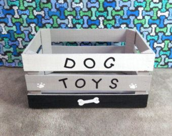 Dog Toy Box, Black and White With Gray Toy Box, Wooden Crate Toy Box, Dog Toy…