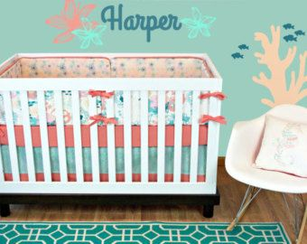 Girl Fish Cribset, Ocean Cribset, Coral Mint Girl Crib, Coral Baby Bedding, Coral Mint Cribset, Modern Nursery, Crib Bedding, Crib Set