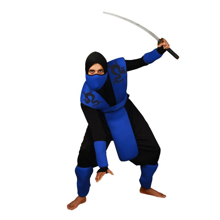 Mens Blue Snake Eyes NInja Fancy Dress Costume Complete Adult Warrior Outfit