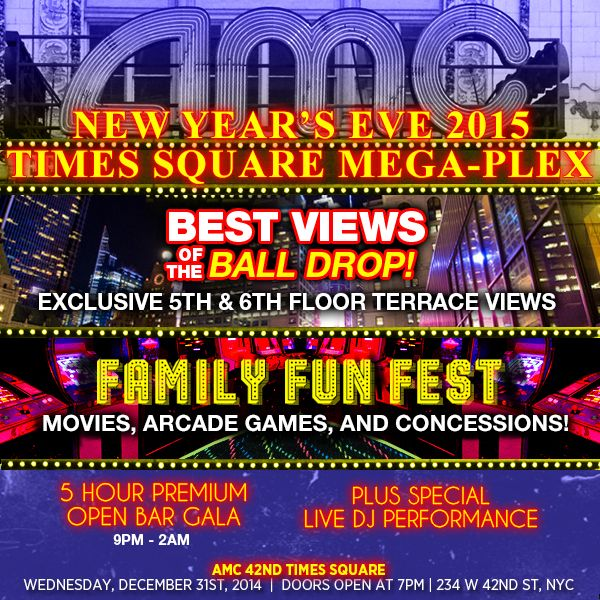 NYC New Years  AMC 42nd Street Times Square New Years Eve 2015