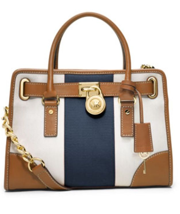 MICHAEL Michael Kors Hamilton Striped Canvas Satchel
