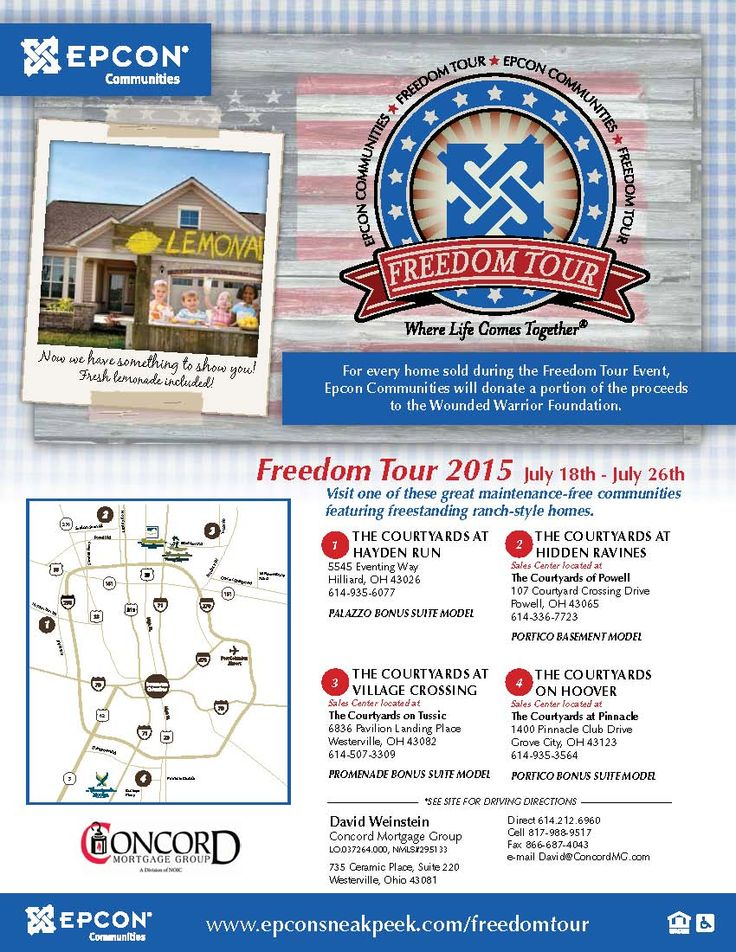 Have you heard about Epcon's Freedom Tour?  Visit us July 18th-26th to tour our model homes around greater Columbus, enjoy fresh lemonade and learn about the freedoms provided by maintenance-free living in an Epcon home!  Please see flyer for participating locations!  *For every home sold during the Freedom Tour, Epcon will donate $1,000 to the Wounded Warrior Foundation