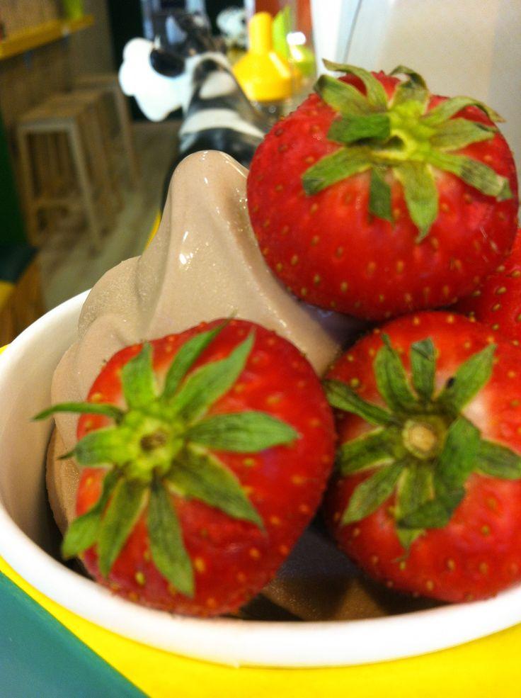 Gianduia Frozen Yoghurt & fresh Strawberry!  Taste It! #frozen #frozenyoghurt #yoghurt #moumou #yogurteria #greece #athens #aigaleo #bubbletea #tea #cafe #drink #food #instafood #best #picoftheday #yummy #flavour #chocolate #strawberry