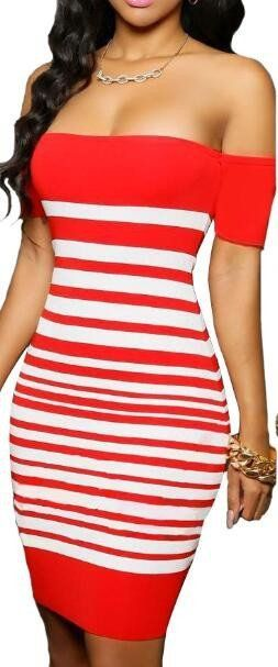 Nice Body Dresses Romoti Off The Shoulder Stripe Bodycon Dress... Check more at http://24store.tk/fashion/body-dresses-romoti-off-the-shoulder-stripe-bodycon-dress/