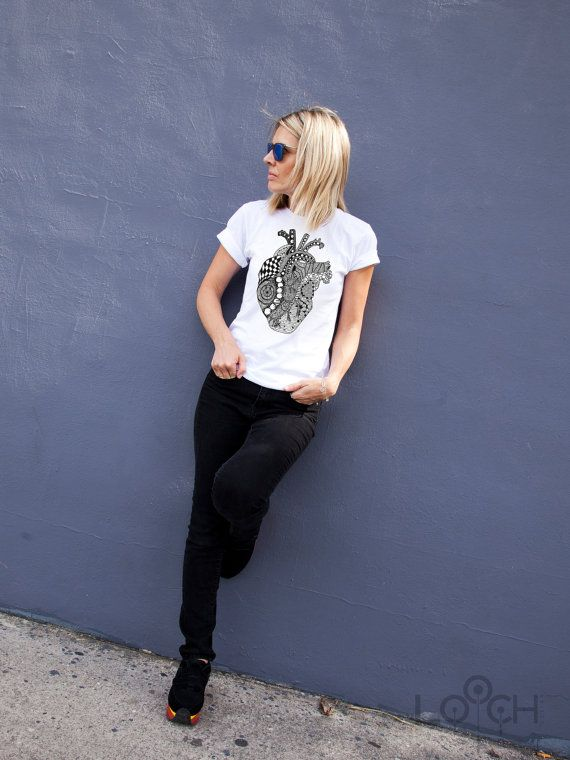Anatomy Heart T-shirt - graphic tee - black print on white tee-gift for her-gift for him - zentangle art - unisex apparel-valentine